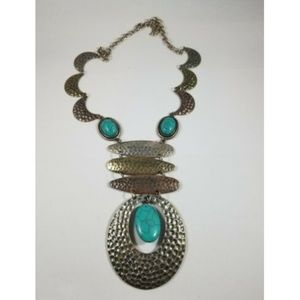 Hammered Metal Faux Turquoise Necklace